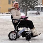 fauteuil roulant électrique pliable Eloflex en hiver