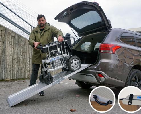 fauteuil roulant électrique pliable Eloflex modèle X rampe